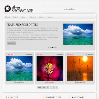 Silver Showcase blog template. template image slider blog. magazine blogger template style. wordpress theme to blogger